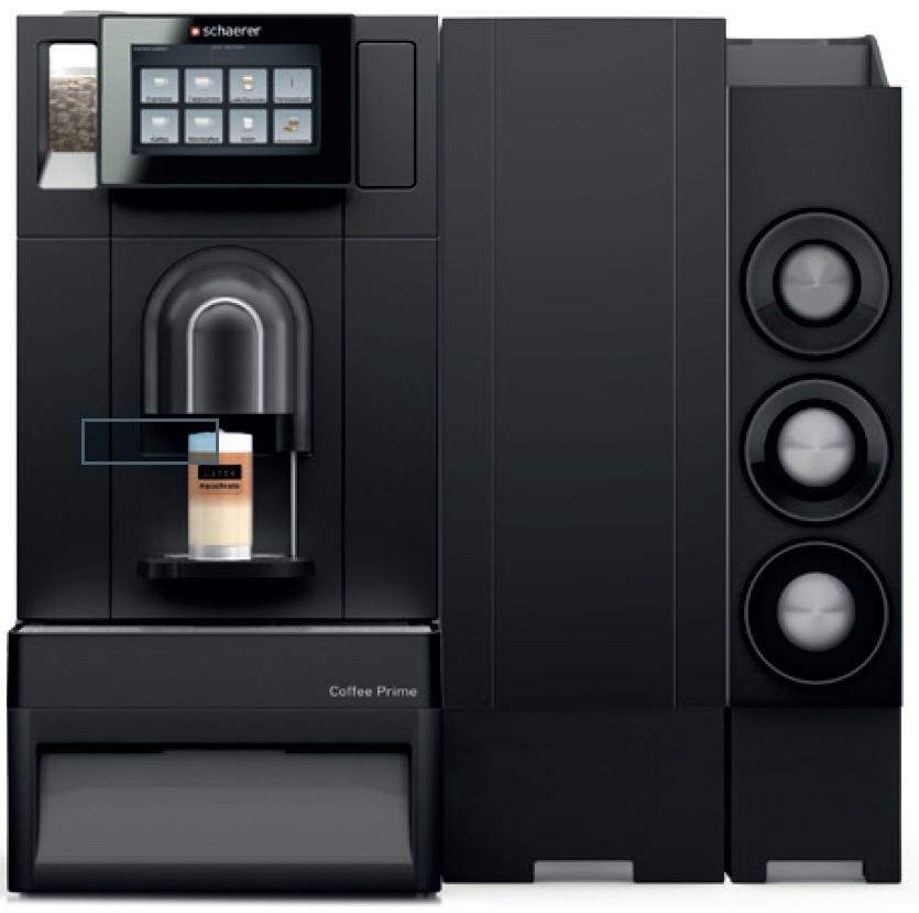 Schaerer Coffee Prime mit Frischmilchsystem, Beistellkühleinheit, Becherspender und Unterstelleinheit